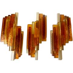 Trio of Colored Glass & Gilt Brass Wall Sconces by Svend Aage Holm Sorensen