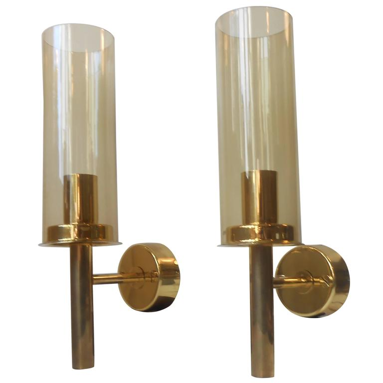 Large Pair of Hans-Agne Jakobsson Mid-Century Yellow Glass and Brass Wall Sconces at 1stdibs