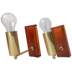 Carl Fagerlund, Pair of Amber Art Glass & Brass Sconces, 1960s, Orrefors, Sweden