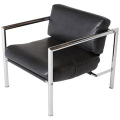 1960s Martin Visser Style Modern Chrome Lounge Chair