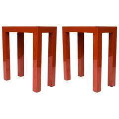 J. Robert Scott Cinnabar Lacquer Parsons Side Tables