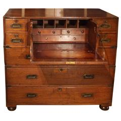 Victorian Colonial Anglo-Indian Teak & Brass Military Officer's Campaign Chest