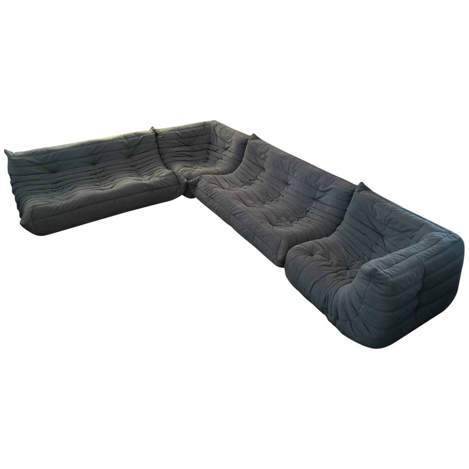 Original 1980s Ligne Roset Togo Five Pieces Sofas Designed by Miche...