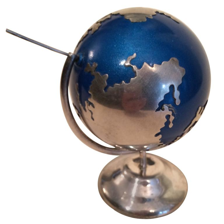 Sterling Silver Spinning Globe Desk Accessory