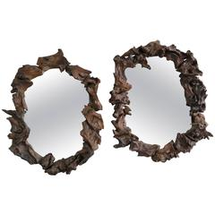 Pair of Mangrove Wood Mirrors