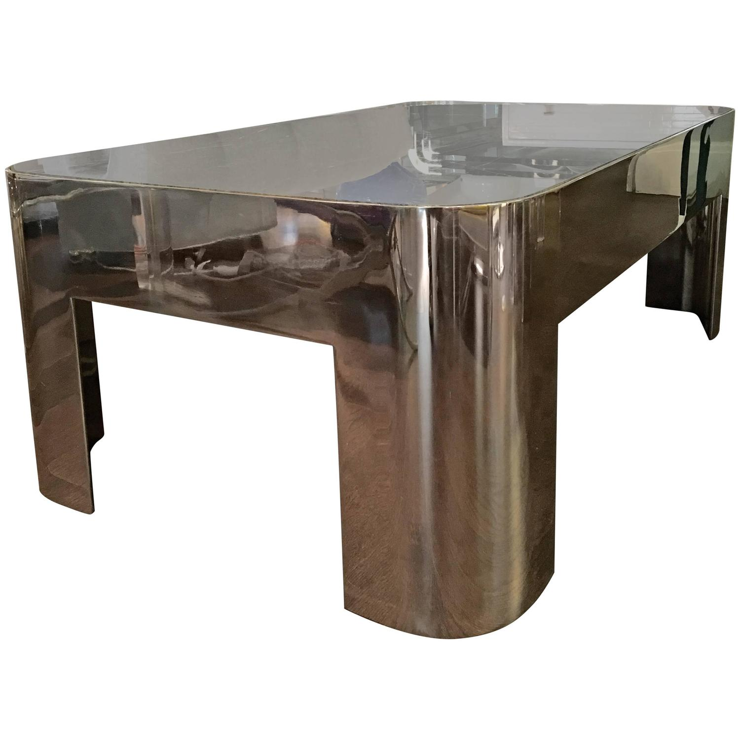 Prices For Marble Top Coffee Tables: Vintage Chrome And Marble-Top Coffee Table For Sale At 1stdibs