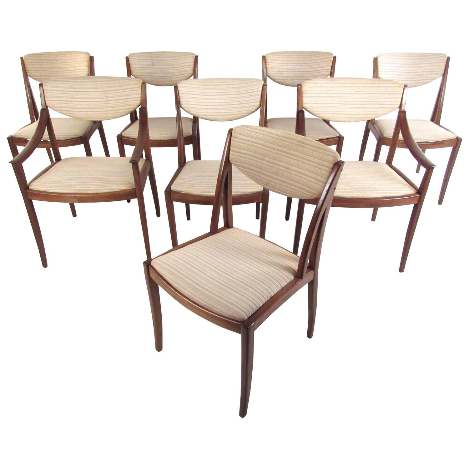 Mid Century Furniture Dining Room: Mid-Century American Walnut Dining Chairs By Drexel For