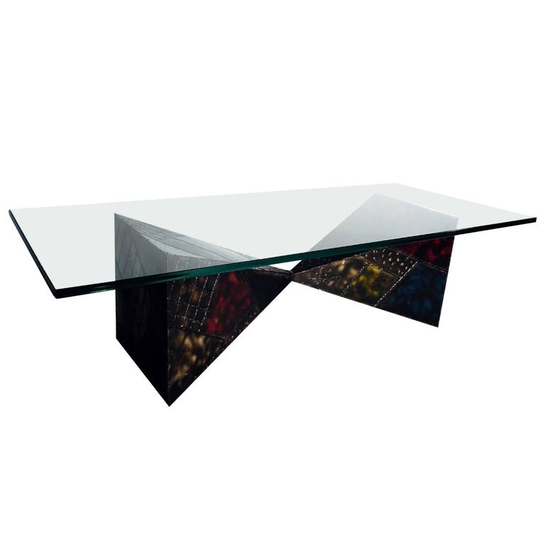 Steel Sculpted Pyramid Coffee Table by Paul Evans For Sale