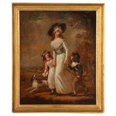 Antique Oil Painting, Mother with Children, circa 1790-1800