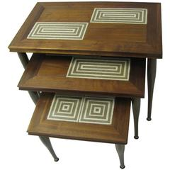 Mid-Century Modern Tile Top Stack Nesting Tables