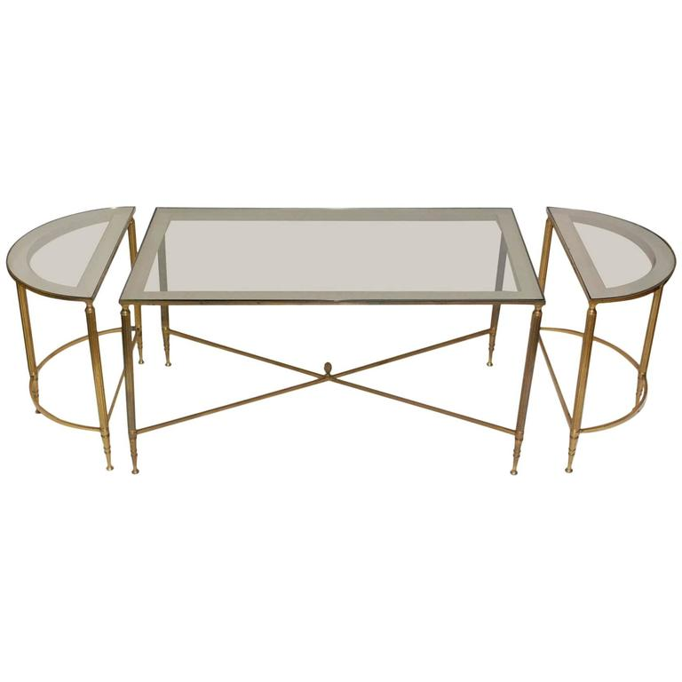 French three part brass cocktail tables at 1stdibs for Cocktail tables for sale in kzn