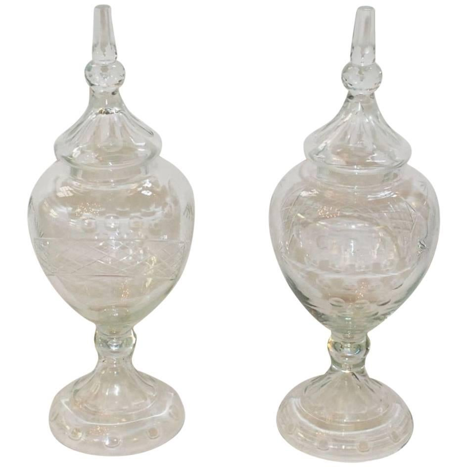 Pair of French Large Pharmacy Jars