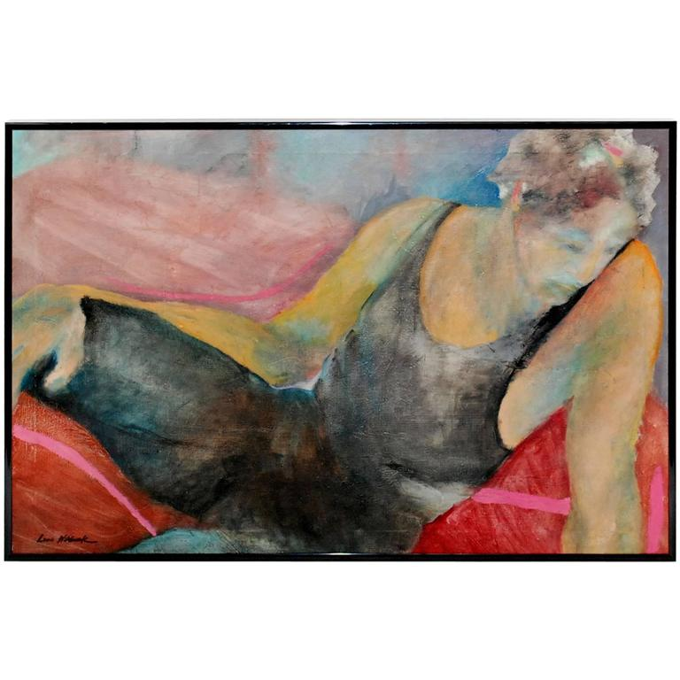 "Louis Wolchonok Painting ""Reclining Woman"""