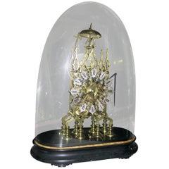 19th century Brass Skeleton Clock Under Dome