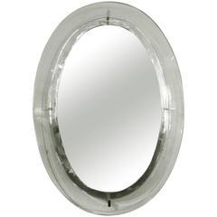 Italian Fontana Arte Inspired Mid-Century Modern Oval Mirror