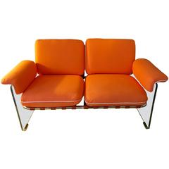 "Lucite and Chrome ""Argenta"" Loveseat by Pace"
