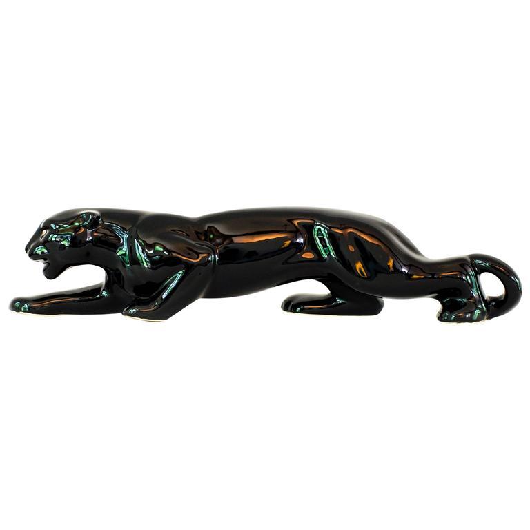 Vintage Mid-Century Modern Ceramic Black Panther Television Figurine Lamp