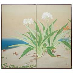 Japanese Two Panel Screen: Flowering Lilies on the Beach with Dancing Crabs