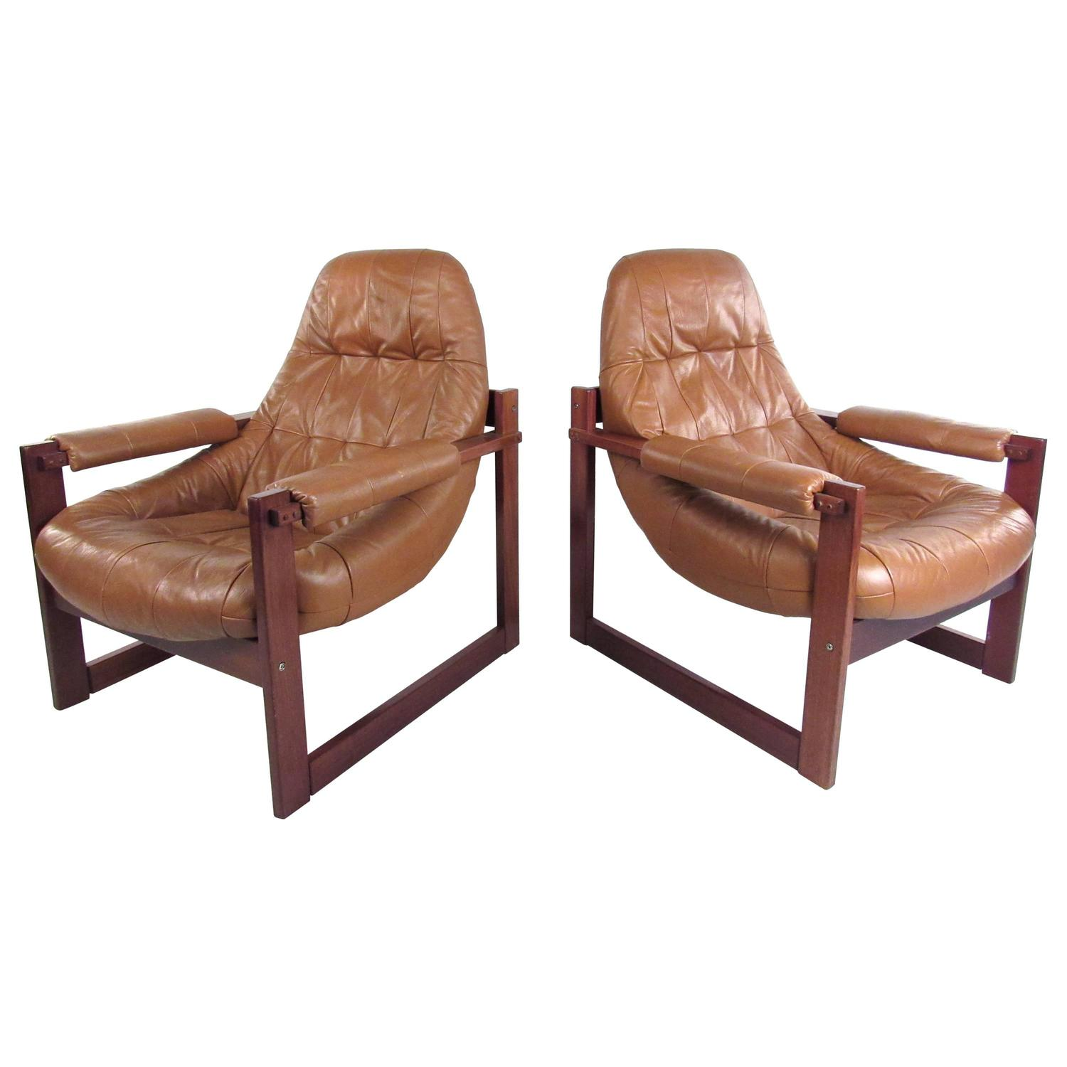 Pair Of Vintage Leather Sled Leg Lounge Chairs By Percival Lafer At . Full resolution‎  portraiture, nominally Width 1500 Height 1500 pixels, portraiture with #90563B.