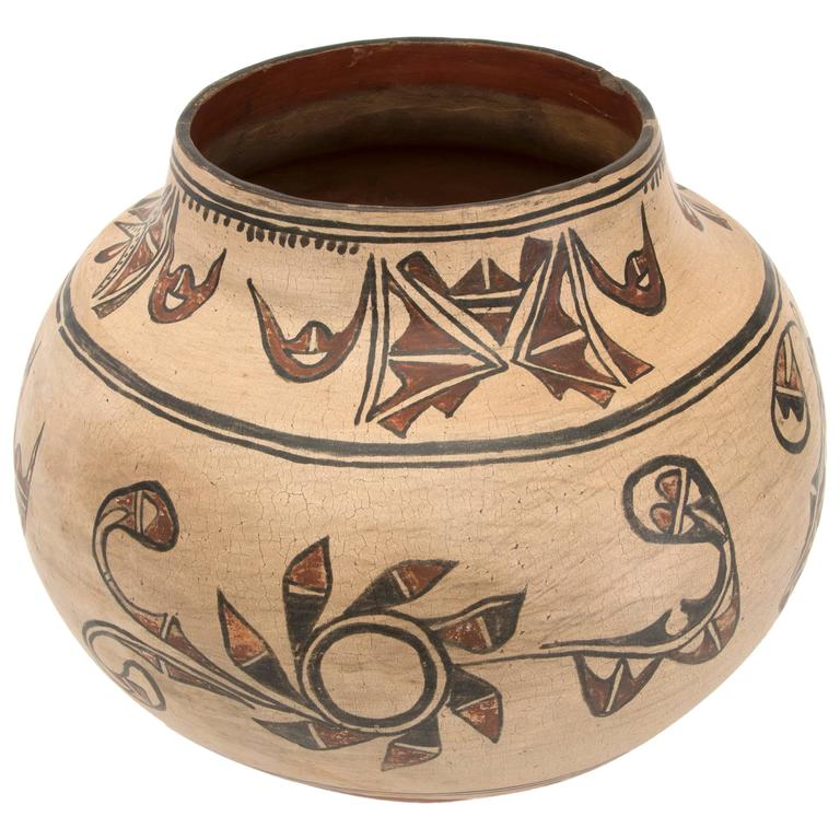 Antique Native American Pottery Jar San Ildefonso Pueblo, 19th Century