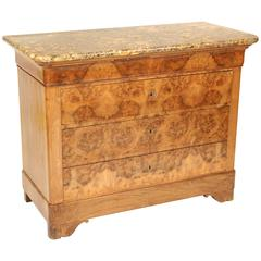 Louis Philippe Style Burl Walnut Commode