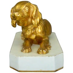 Cavalier King Charles Spaniel Gilt Porcelain Dog