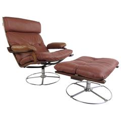 Vintage Leather Westnofa Style Swivel Lounge Chair with Ottoman