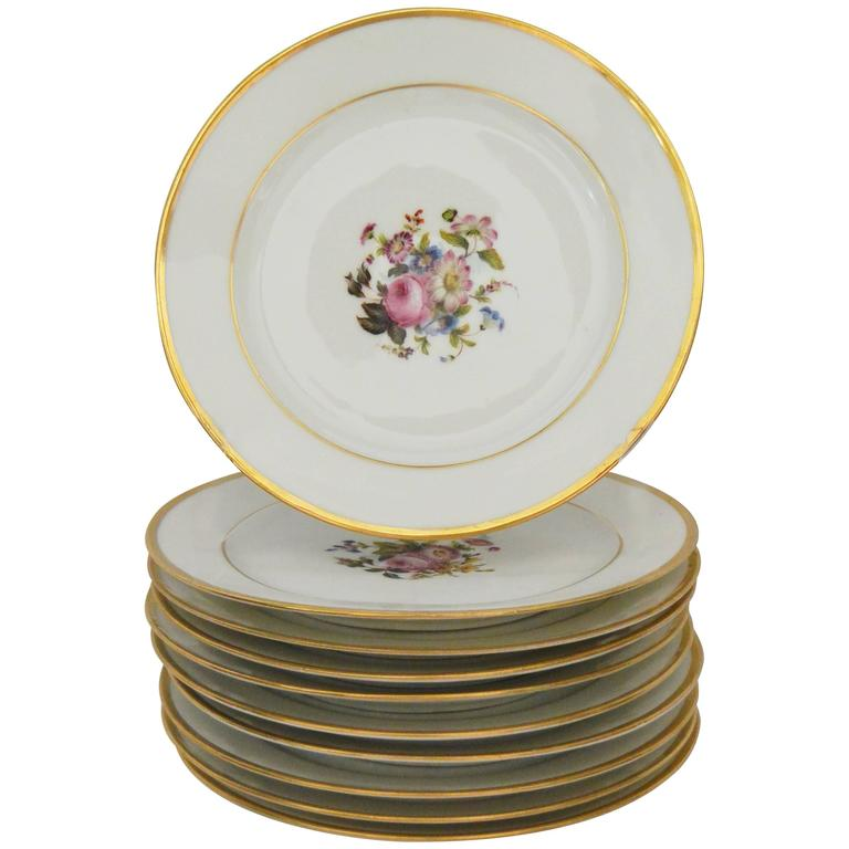 Set of Ten Empire Floral Decorated Gilt Banded Plates