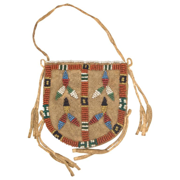 Antique Native American Beaded Leather Pouch, Sioux, 19th Century