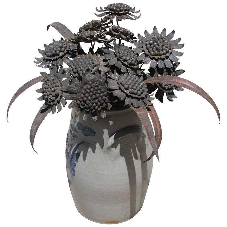 Early 20th Century Tin Folk Art Sunflower Collection