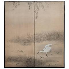Japanese Two Panel Screen:  Heron Under Willow at Pond's Edge