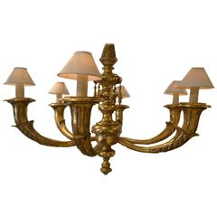 Impressive Ball Room Sized Giltwood Six-Arm Chandelier