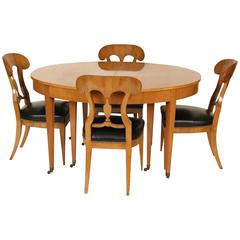 Biedermeier Style Dining Table by Baker and Four Chairs