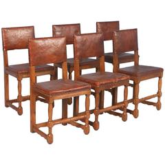 Set of Six Oak Side Chairs from Denmark, circa 1900