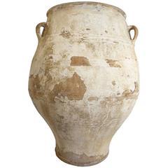 19th Century Big Mediterranean Terracotta Ampora Jar with White Patina