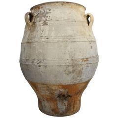19th Century Big Mediterranean Terracotta Amphora Jar with White Patina