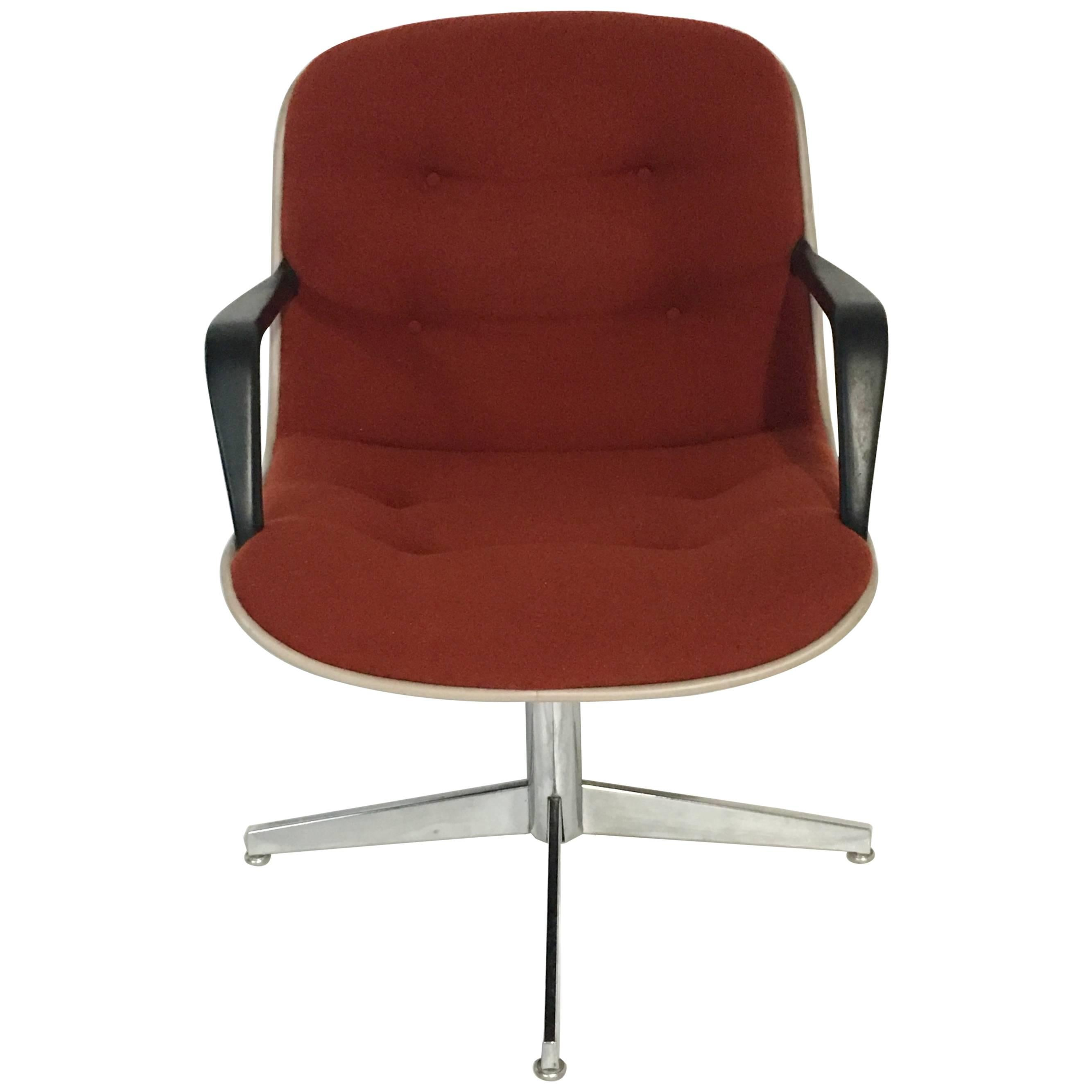 1980'S Upholstered Swivel Chrome Armchair By, Steelcase