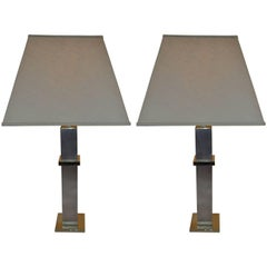Pair of Steel and Brass Cityscape Lamps by Laurel Lamp Company