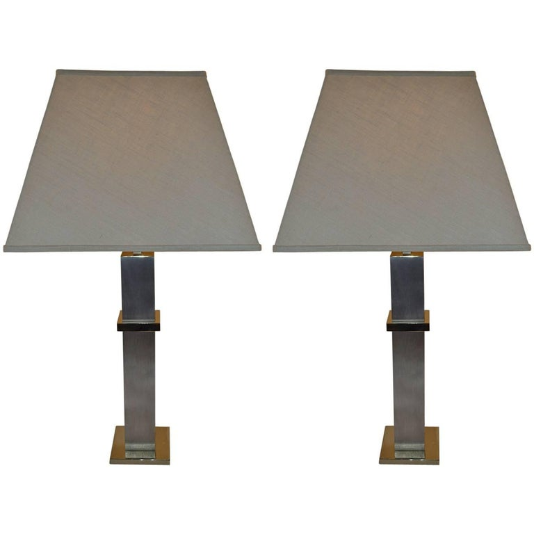 Pair of Steel and Brass Cityscape Lamps by Laurel Lamp Company For Sale