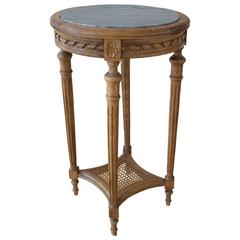 19th C. French Louis XVI St. Side Table with Marble Top