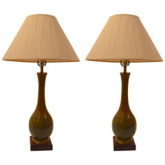 Pair of Teardrop Ceramic High Glaze Table Lamps