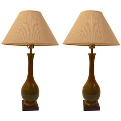 Pair of Teardrop Ceramic High Glaze Table Lamps