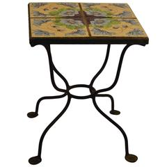 Tile Top Wrought Iron Base Table
