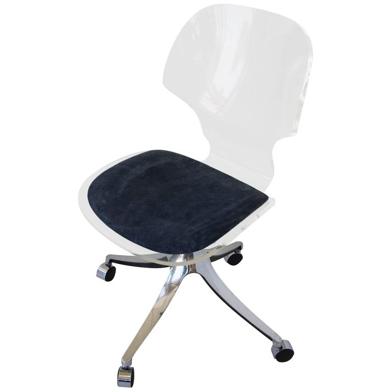 Hill Manufacturing Co Lucite Rolling Desk Chair at 1stdibs
