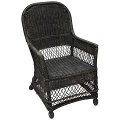 English Wicker Armchair, circa 1900