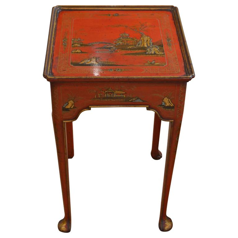 Red chinoiserie side table at 1stdibs for Red side table