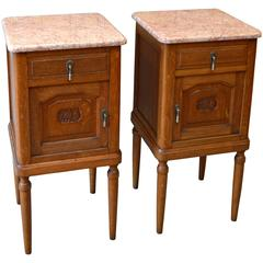 Pair of Oak Marble-Top Bedside Cabinets