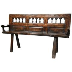 Late 19th Century French Breton Walnut and Elm Bench of Superb Patina