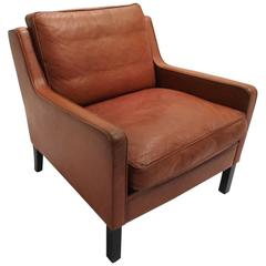 Danish Thams Kvalitet Tan Brown Leather Armchair, Mid-Century Chair, 1960s