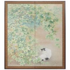 "Japanese Screen ""Cat Resting under Bamboo Arbor"""